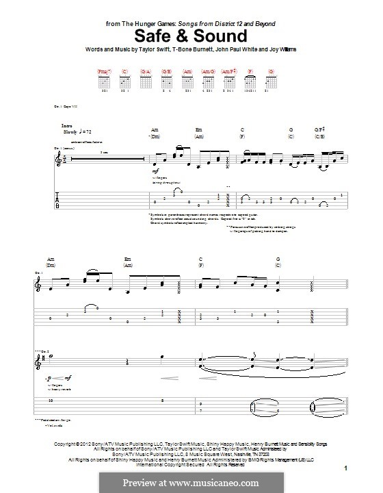 Safe and Sound (Taylor Swift feat. The Civil Wars): For guitar with tab by John Paul White, Joy Williams, T-Bone Burnett, Taylor Swift