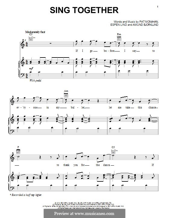 Sing Together (Train): For voice and piano (or guitar) by Amund Bjorklund, Espen Lind, Patrick Monahan