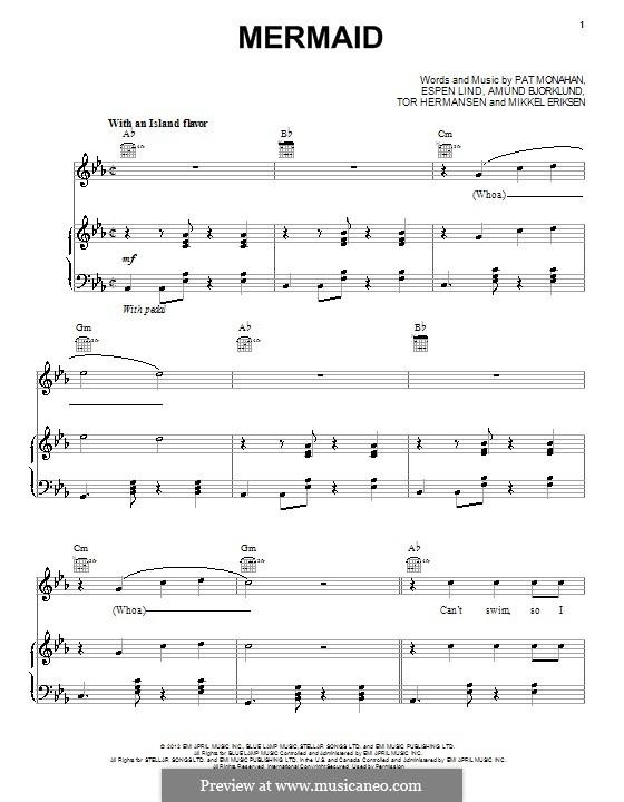 Mermaid (Train): For voice and piano (or guitar) by Amund Bjorklund, Espen Lind, Mikkel Storleer Eriksen, Patrick Monahan, Tor Erik Hermansen