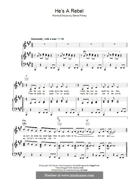 He's a Rebel (The Crystals): For voice and piano (or guitar) by Gene Pitney