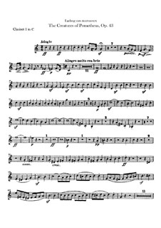 The Creatures of Prometheus, Op.43: Clarinets I, II parts by Ludwig van Beethoven