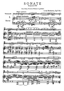 Sonata for Cello and Piano No.1 in F Major, Op.5: Movement I by Ludwig van Beethoven