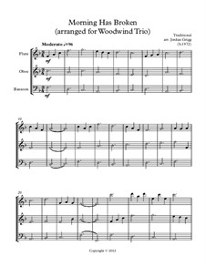Morning has Broken: For woodwind trio by Unknown (works before 1850)