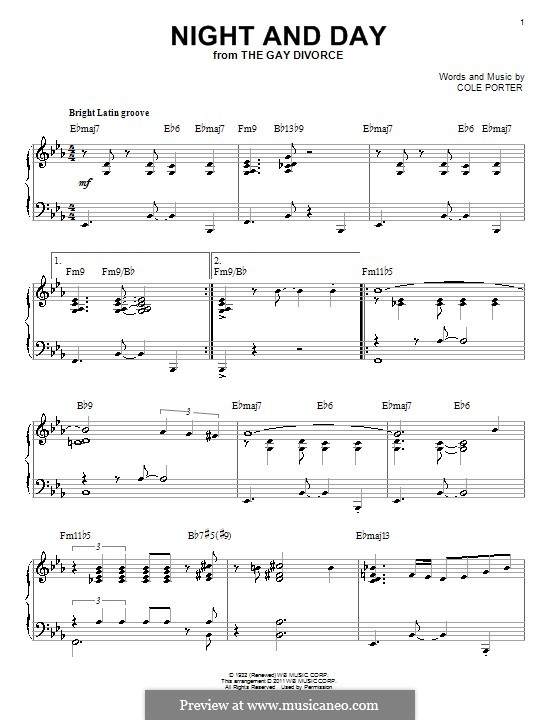 Night and Day (Frank Sinatra): For piano (jazz version) by Cole Porter