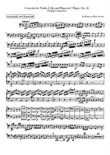 Concerto for Violin, Cello, Piano and Orchestra , Op.56: Cello and double bass part by Ludwig van Beethoven