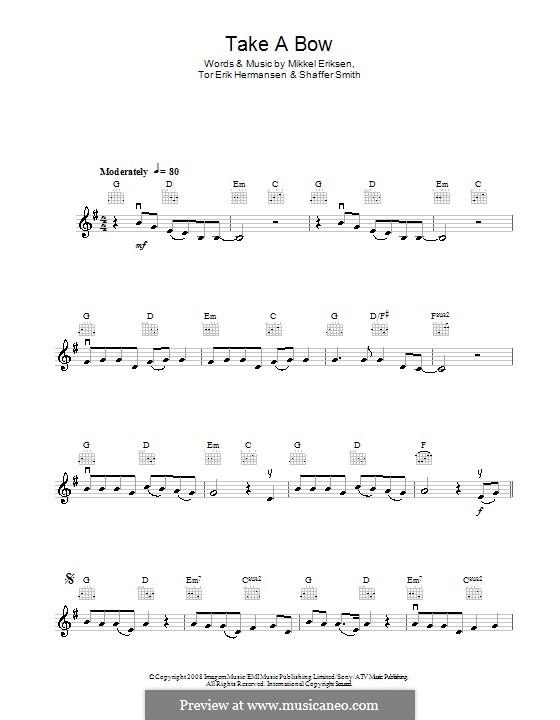 Take a Bow (Rihanna): For violin by Mikkel Storleer Eriksen, Ne-Yo, Tor Erik Hermansen
