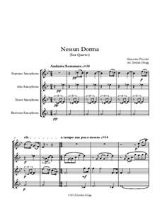 Turandot: Nessun dorma, for sax quartet by Giacomo Puccini