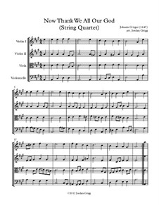 Now Thank We All Our God: For string quartet by Johann Crüger