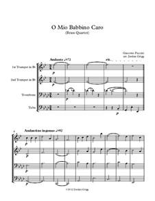 O mio babbino caro: For brass quartet by Giacomo Puccini
