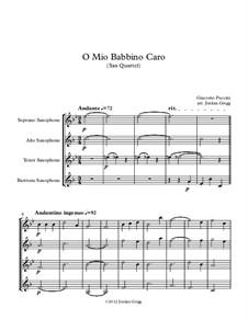 O mio babbino caro: For sax quartet by Giacomo Puccini