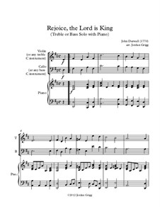 Rejoice the Lord Is King: For treble or bass solo with piano by John Darwall