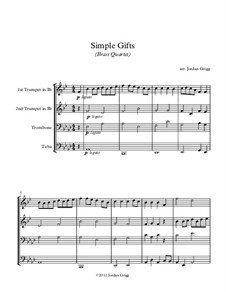Simple Gifts: For brass quartet by Joseph Brackett