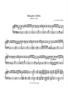 Simple Gifts: For piano solo by Joseph Brackett