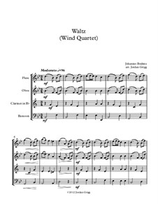 Waltz No.15 (Chamber arrangements): For wind quartet by Johannes Brahms