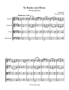 Ye Banks and Braes: For string quartet by folklore
