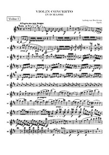 Concerto for Violin and Orchestra in D Major, Op.61: Violin I part by Ludwig van Beethoven