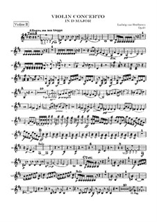 Concerto for Violin and Orchestra in D Major, Op.61: Violin II part by Ludwig van Beethoven