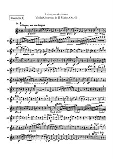 Concerto for Violin and Orchestra in D Major, Op.61: Clarinets I, II parts by Ludwig van Beethoven