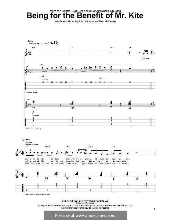 Being for the Benefit of Mr Kite (The Beatles): For guitar with tab by John Lennon, Paul McCartney