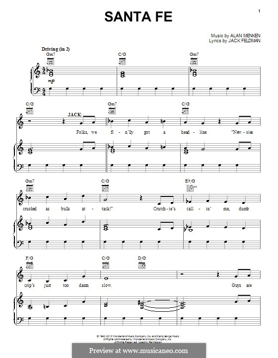 Santa Fe (from Newsies): For voice and piano (or guitar) by Alan Menken