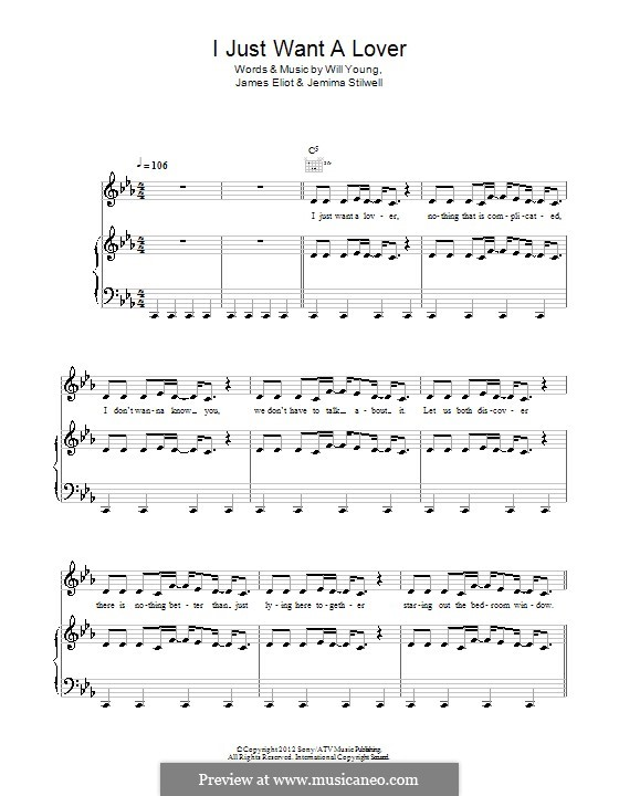 I Just Want a Lover: For voice and piano (or guitar) by Will A. Young, James Eliot, Jemima Stilwell