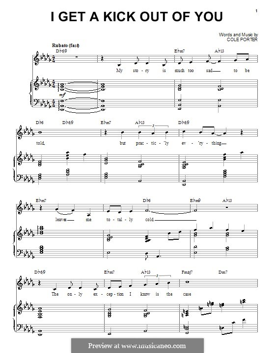 I Get a Kick Out of You (Frank Sinatra): For voice and piano by Cole Porter