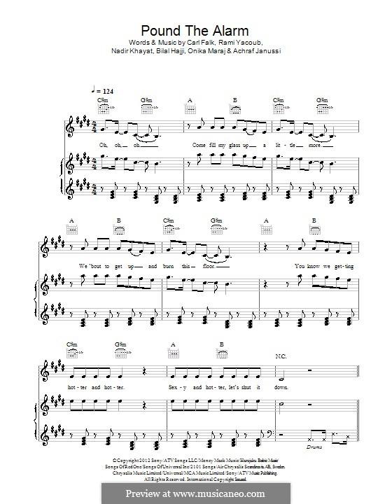Pound the Alarm (Nicki Minaj): For voice and piano (or guitar) by RedOne, Achraf Janussi, Bilal Hajji, Carl Falk, Onika Maraj