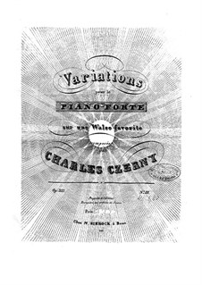 Les elegantes, Op.333: No.3 Variations sur une valse favorite by Carl Czerny