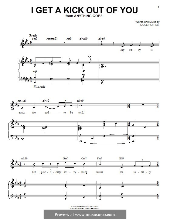 I Get a Kick Out of You (Frank Sinatra): For voice and piano (or guitar) by Cole Porter