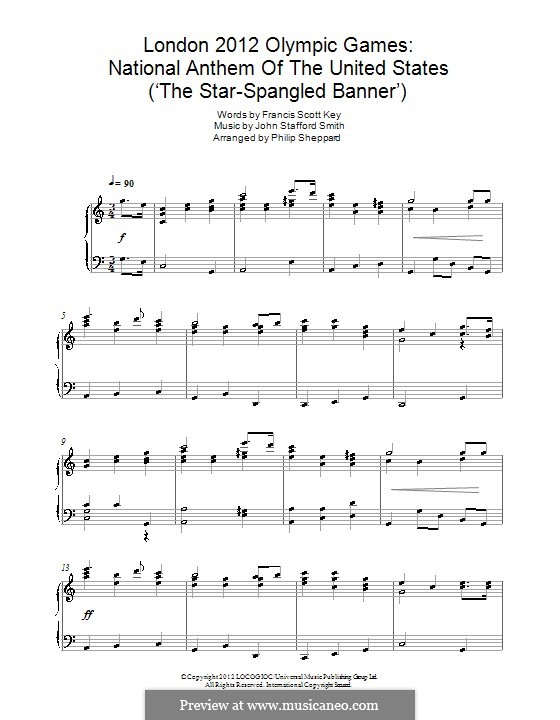 The Star Spangled Banner (National Anthem of The United States). Printable Scores: For piano by John Stafford Smith