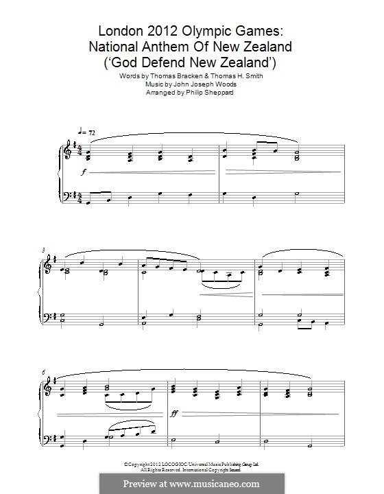 God Defend New Zealand (New Zealand National Anthem): For piano by John Joseph Woods