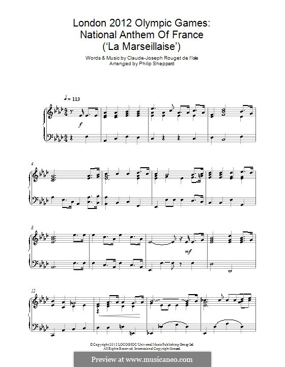 Marseilles Hymn: For piano by Claude Joseph Rouget de Lisle