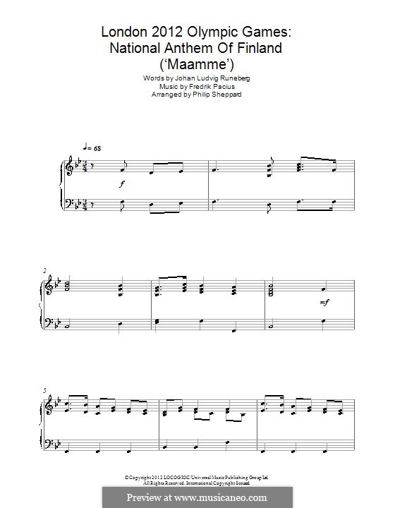 Maamme (Finnish National Anthem): For piano by Fredrik Pacius