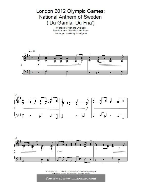 Du Gamla Du Fria (Swedish National Anthem): For piano by folklore