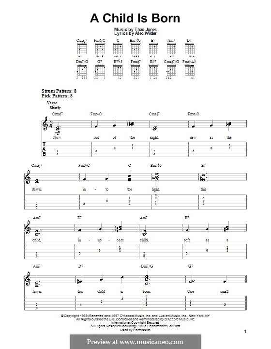 A Child Is Born: For guitar with tab by Alex Wilder