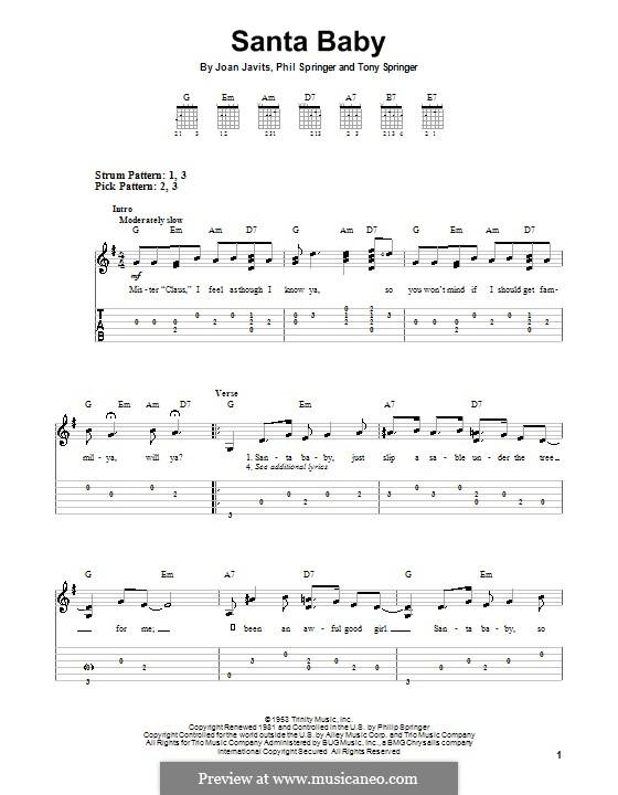 Santa Baby (Eartha Kitt): For guitar with tab by Joan Javits, Philip Springer, Tony Springer