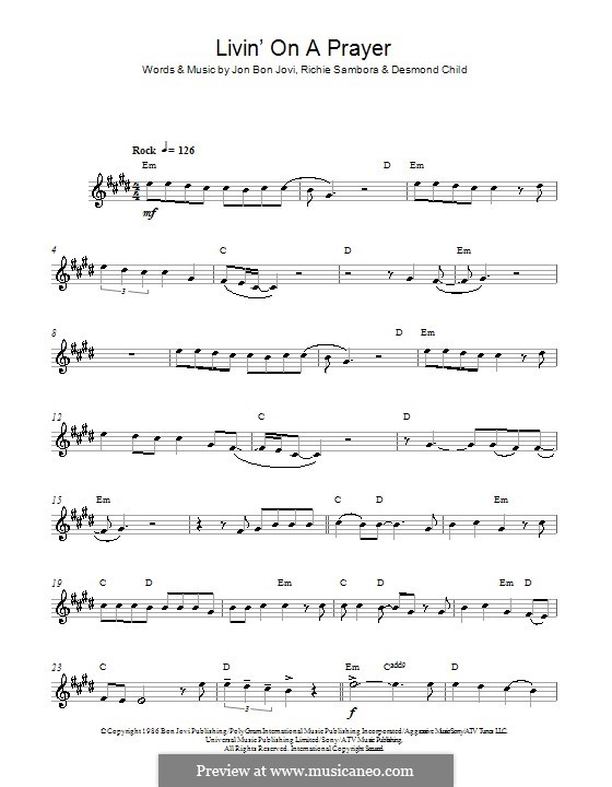 Livin' on a Prayer (Bon Jovi): For alto saxophone by Desmond Child, Jon Bon Jovi, Richie Sambora
