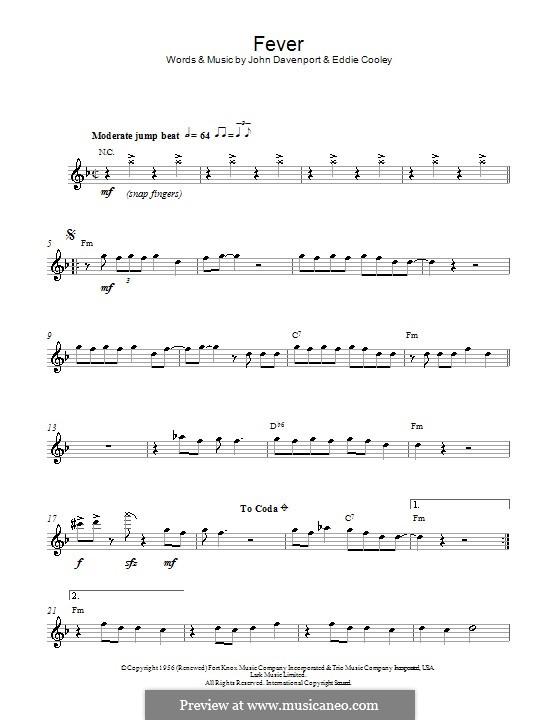 Fever: For alto saxophone by Eddie Cooley, John Davenport