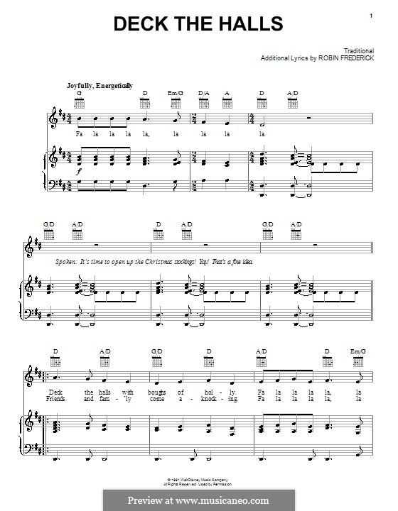 Deck the Hall (Printable): For voice and piano (or guitar) by folklore