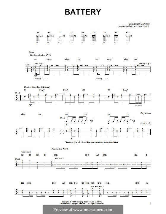 Battery (Metallica): For ukulele by James Hetfield, Lars Ulrich