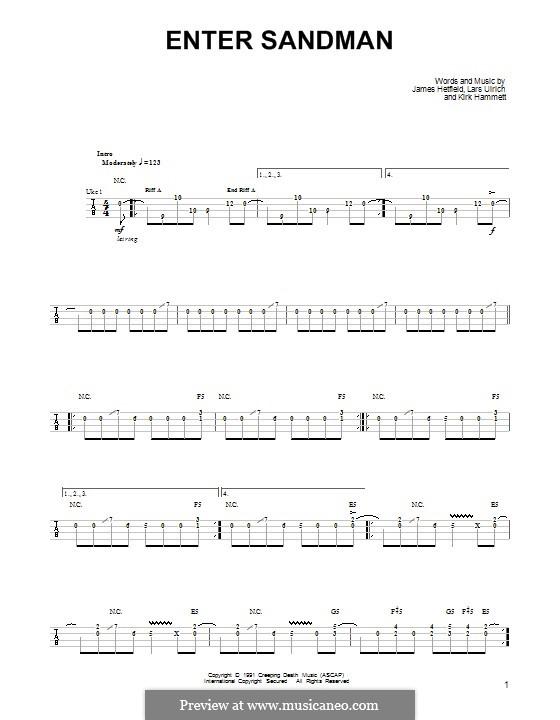 Enter Sandman (Metallica): For ukulele by James Hetfield, Kirk Hammett, Lars Ulrich