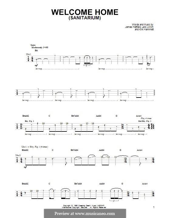 Welcome Home (Sanitarium): For ukulele by James Hetfield, Kirk Hammett, Lars Ulrich