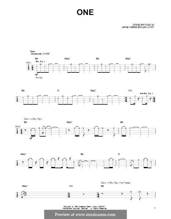 One Metallica By J Hetfield L Ulrich Sheet Music On Musicaneo