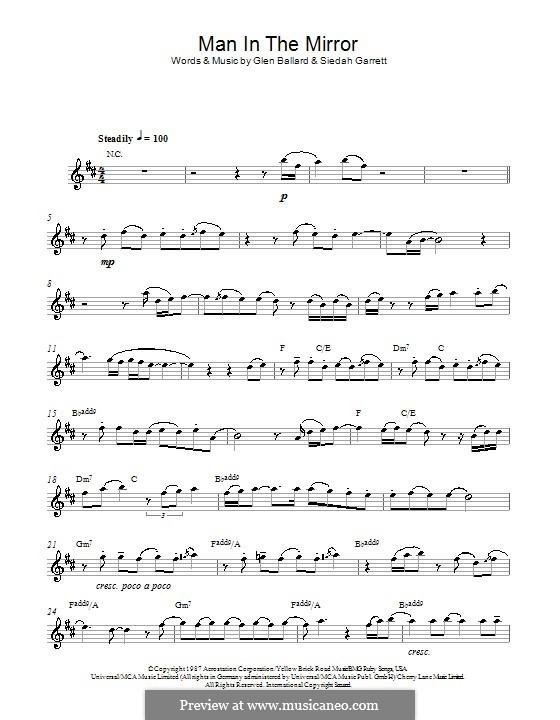 Man in the Mirror: For alto saxophone by Glen Ballard, Siedah Garrett