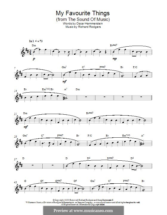 My Favorite Things (from The Sound of Music): For alto saxophone by Richard Rodgers