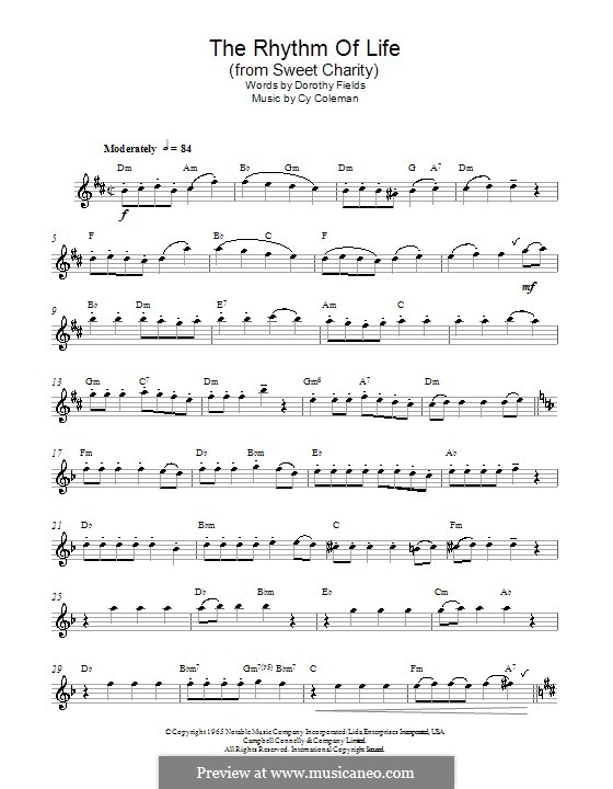 The Rhythm of Life (from Sweet Charity): For alto saxophone by Cy Coleman
