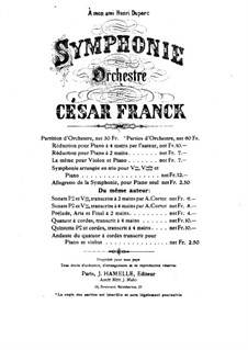 Simphony in D Minor, Op.48: For piano four hands by César Franck