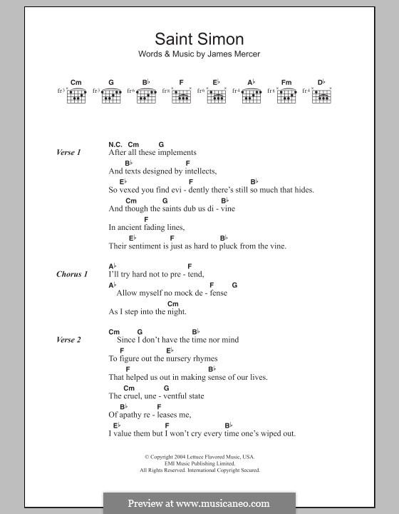 Saint Simon (The Shins): Lead sheet by James Mercer