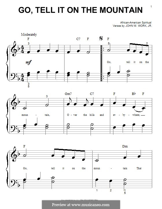Go, Tell it on the Mountain: For piano by folklore