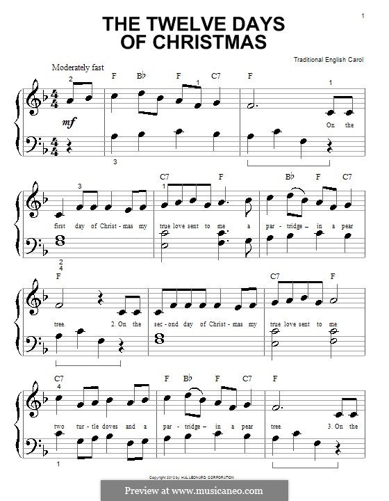 The Twelve Days of Christmas: For piano by folklore